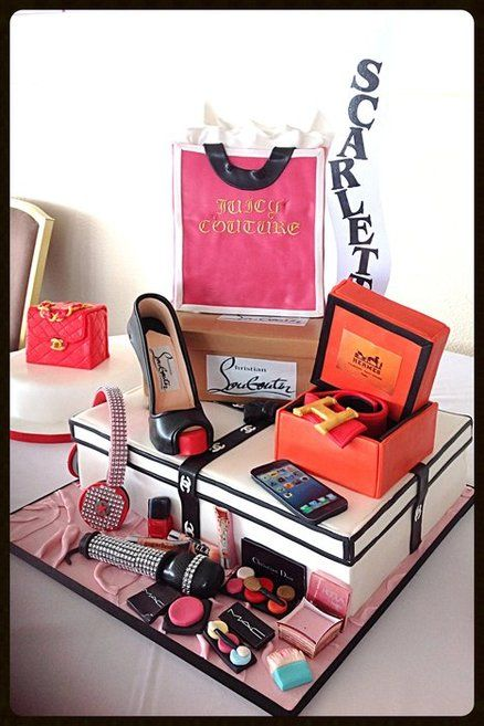 Sweet 16 Birthday Cake With Chanel Box Louboutin Shoe