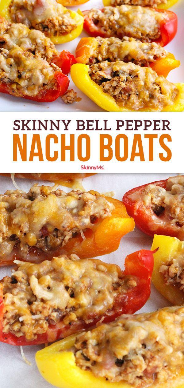 Skinny Bell Pepper Nacho Boats   Skinny Ms.