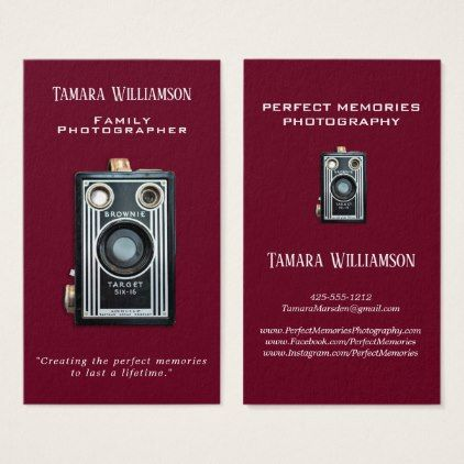 Professional photography vintage camera modern business card professional photography vintage camera modern business card professional gifts custom personal diy reheart Images