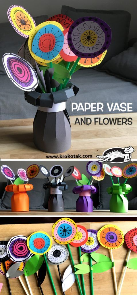 PAPER VASE AND FLOWERS #paperprojects