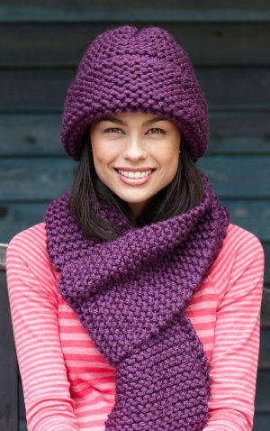 Free Knitting Pattern For Cushion Cover : Super Easy Knitted Hat and Scarf: free pattern Knitting Pinterest Super...