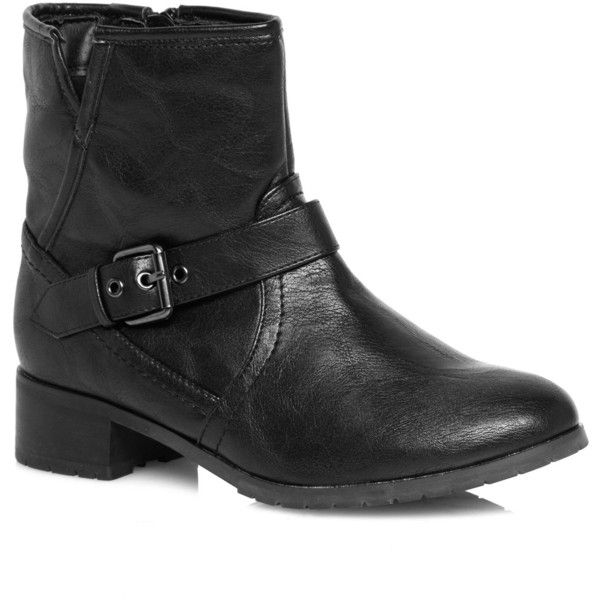 7f2a389ff6a Evans Extra Wide Fit Black Buckle Strap Biker Boots ( 46) ❤ liked on  Polyvore