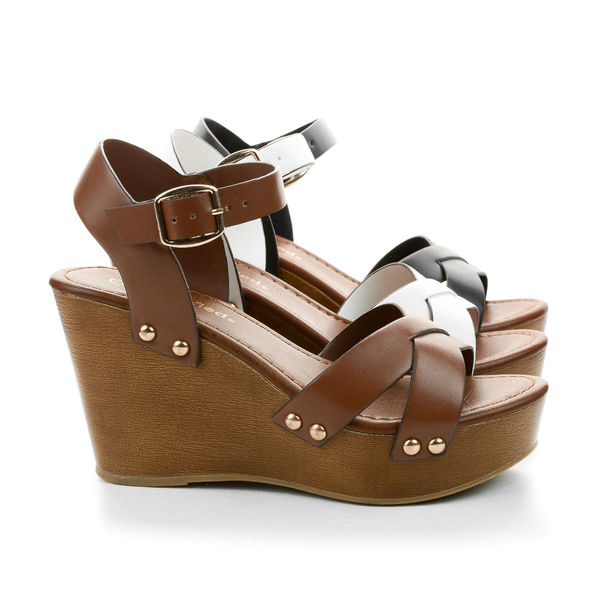 e40a771320 Klaris Open Toe Criss Cross Strappy Faux Wooden Platform High Wedge Heels. # women #shoes for $24.50, enter AquaPin during checkout to receive 15% off.