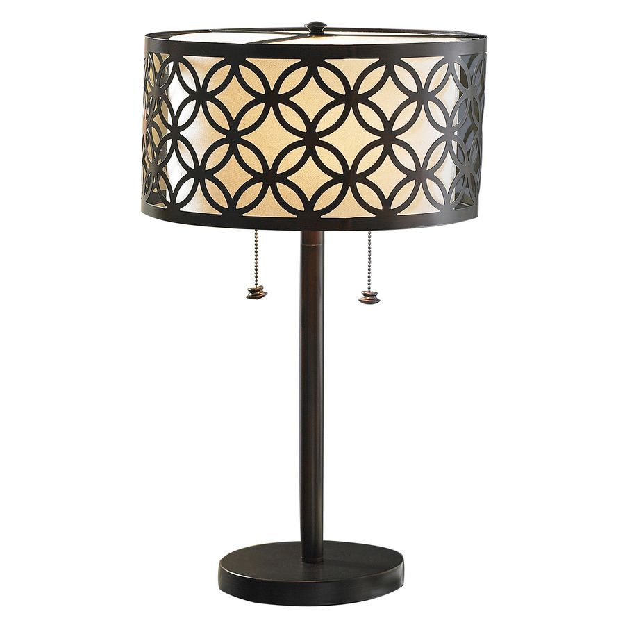Shop allen + roth 25-in Oil-Rubbed Bronze Table Lamp with Metal ...