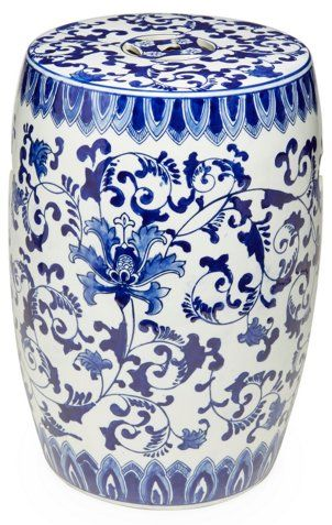 Floral Garden Stool Blue X2f White Outdoor Accents Decor One Kings Lane Garden Stool Blue And White Chinoiserie Decorating