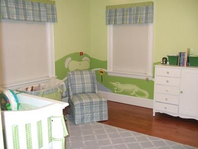 Golf Theme Decor Plaid Fabrics And Alligators In A Baby Boy Nursery Room Green Blue White Color Scheme Cute