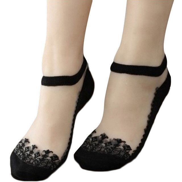 Women Summer Lace Ruffle Crystal Silk Flower Ankle Socks Knit Frill Trim
