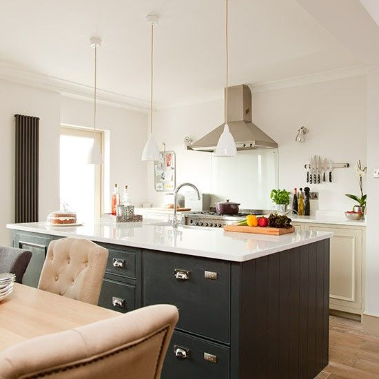dark grey painted kitchen units with white worktops is a classic