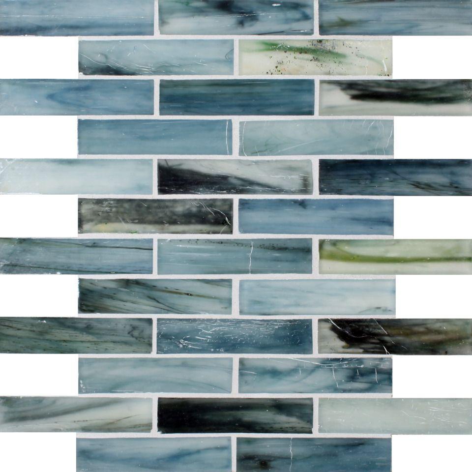 - 1x4 Tozen Iodine Silk Brick Glass Mosaic Glass Tile, Blue Tile