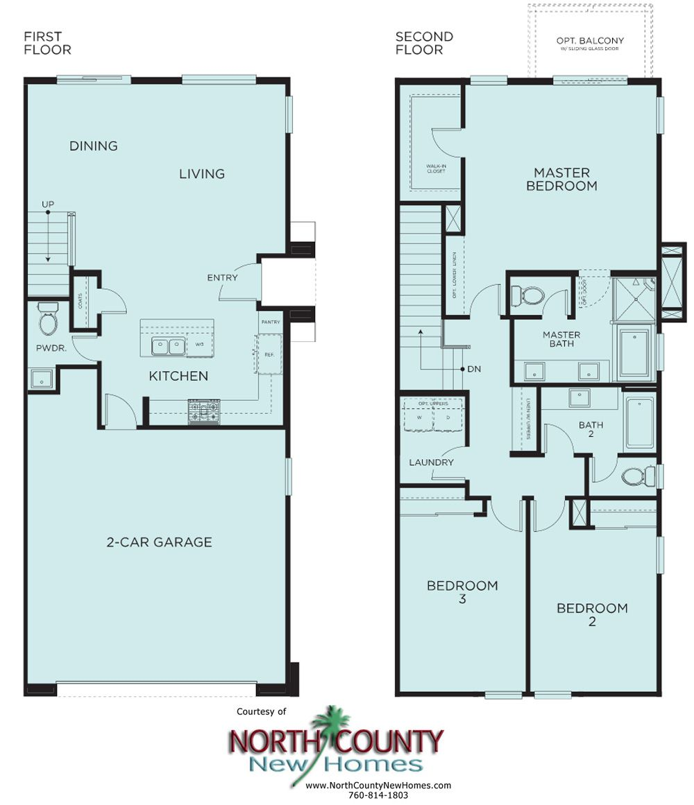 Brisas at pacific ridge new townhomes in oceanside ca 2 for Oceanside house plans