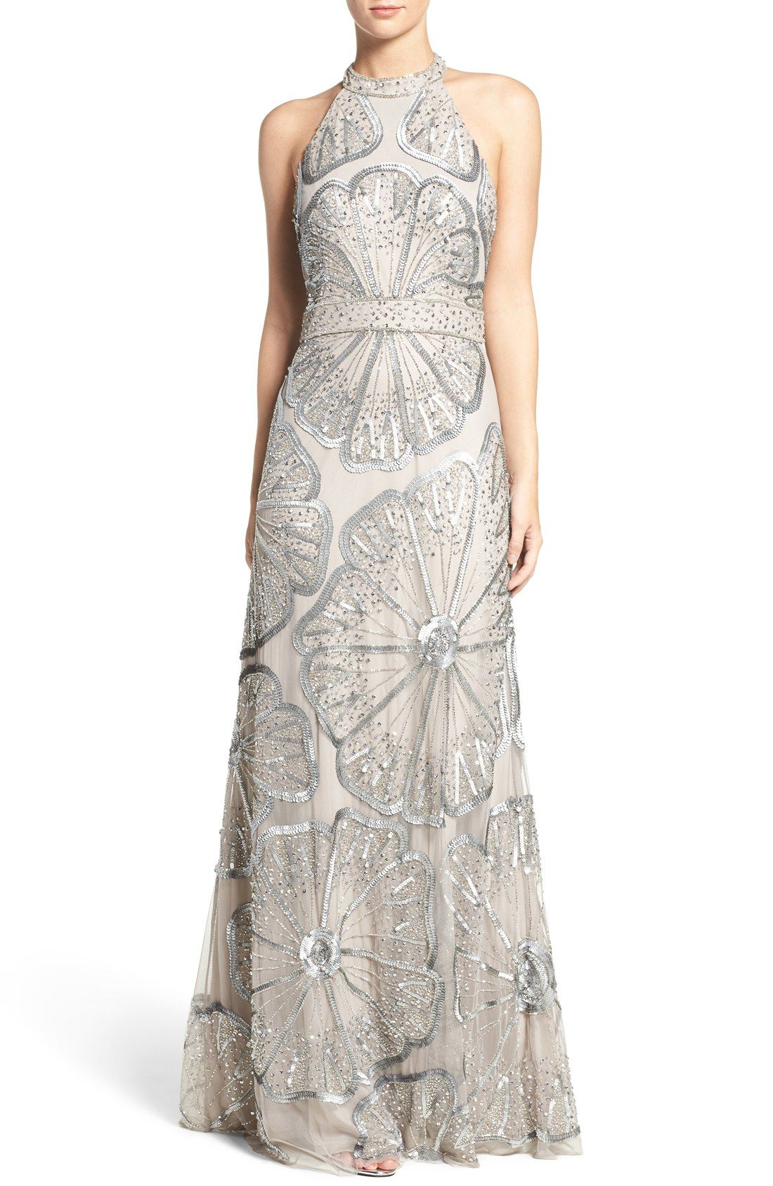 5a1b25af Silver floral beaded gown | Embellished Mesh Fit & Flare Gown | Big ...