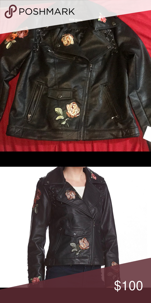 good selling selected material new arrivals Steve Madden leather jacket Steve Madden floral embroidered ...