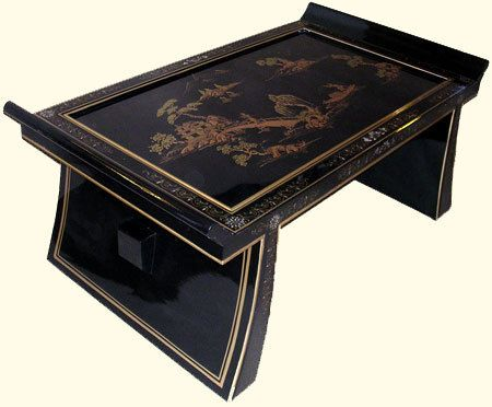 Black Lacquer Oriental Coffee Table With Gold Landscape