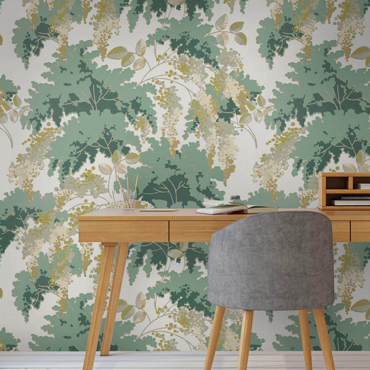 Papier Peint Motif Nature frondaisons | papier peint, papier peint floral et jeux d ombre