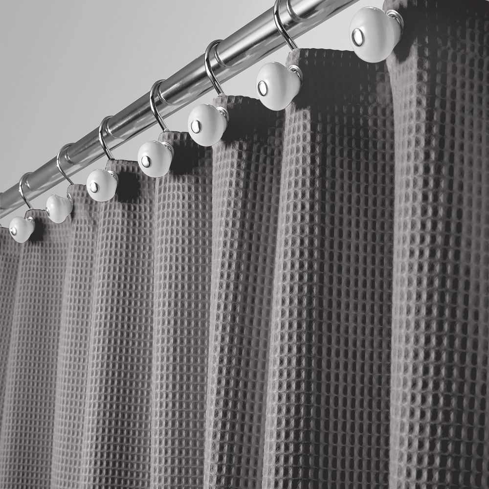 Mdesign X Wide Waffle Weave Fabric Shower Curtain 108 X 72 Gray