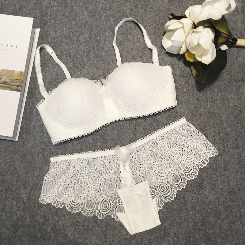 0fdf0eb3df5 Sexy push up romantic lace wireless cup young girl bra set white tube top  design underwear thin women s bra and panties    Details on product can be  viewed ...