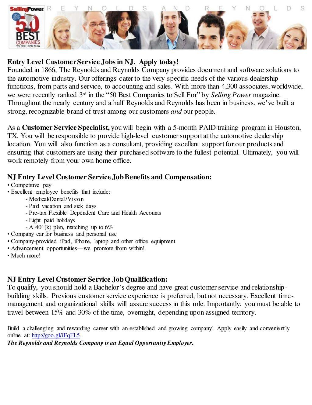 Entry level customer service jobs in nj marketing jobs