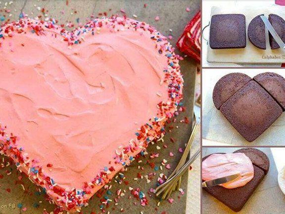 Kuchen in herzform bringen