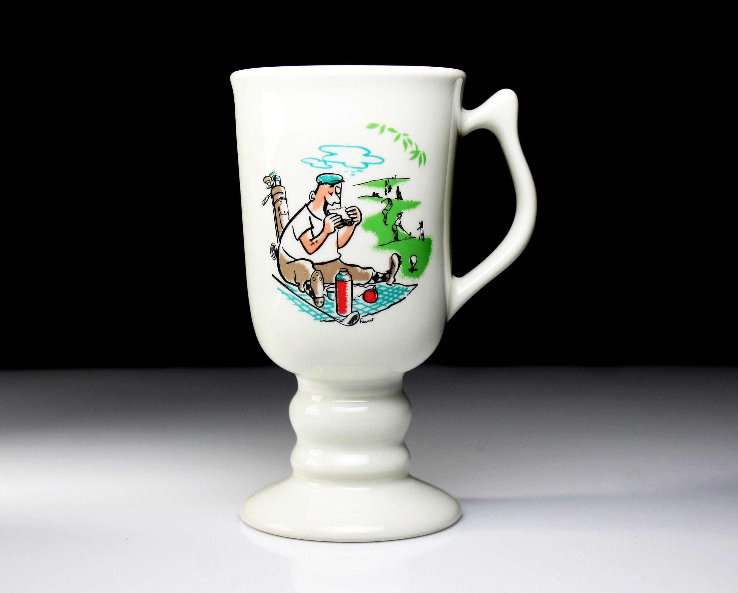 Hall Irish Coffee Mug Golfer Picnic White Coffee Cup Golf