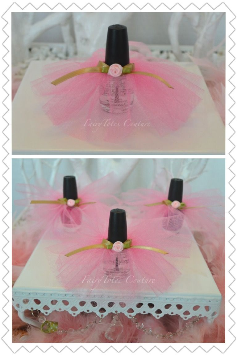 Nail Polish Tutu Favors Pink and Gold Party Favor Once