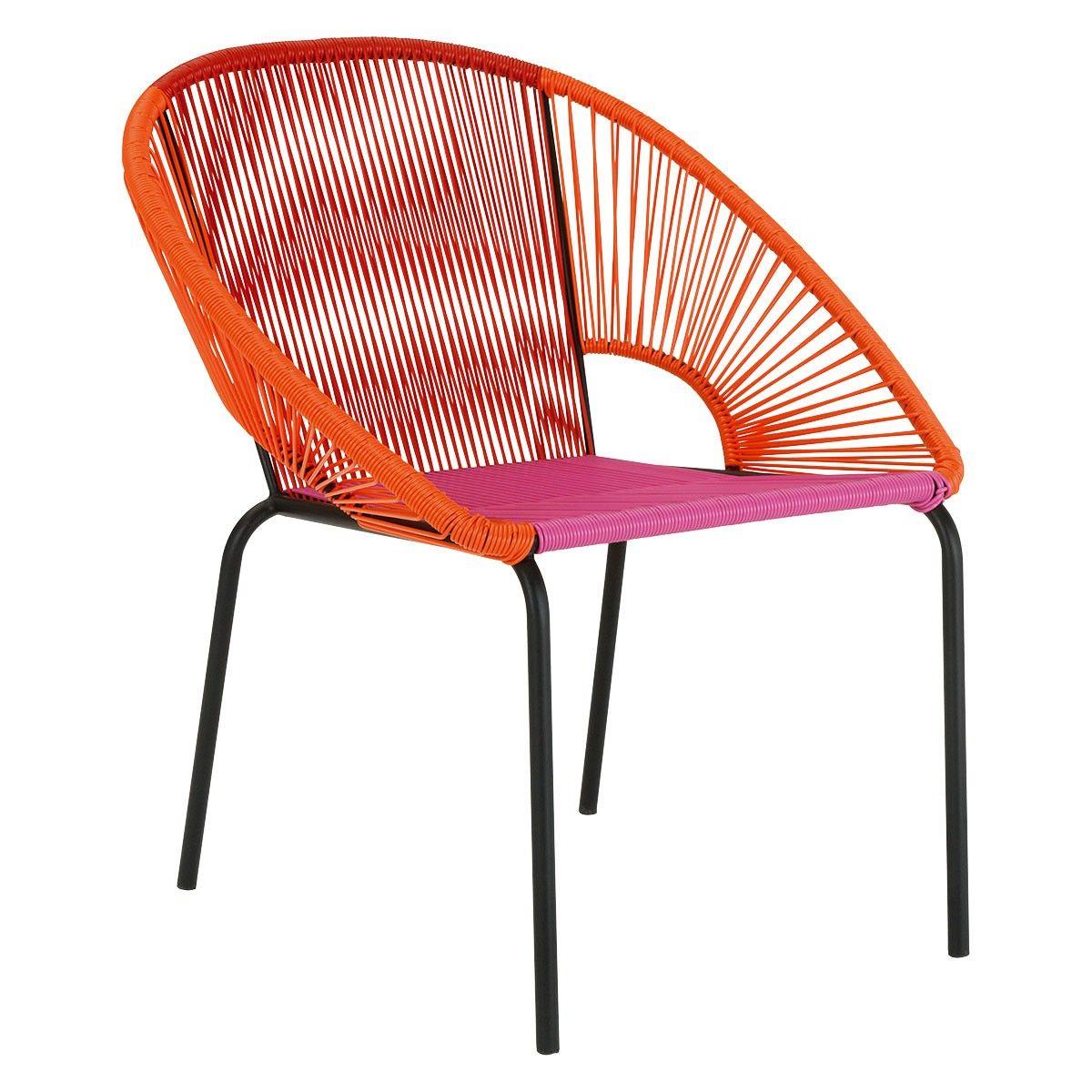JAMBI Pink and orange woven garden chair  Garden furniture chairs