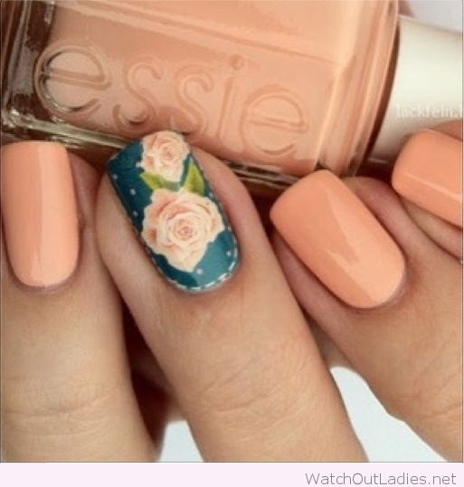 Light Orange Essie Nail Polish Floral Nails Nail Designs Nails Inspiration