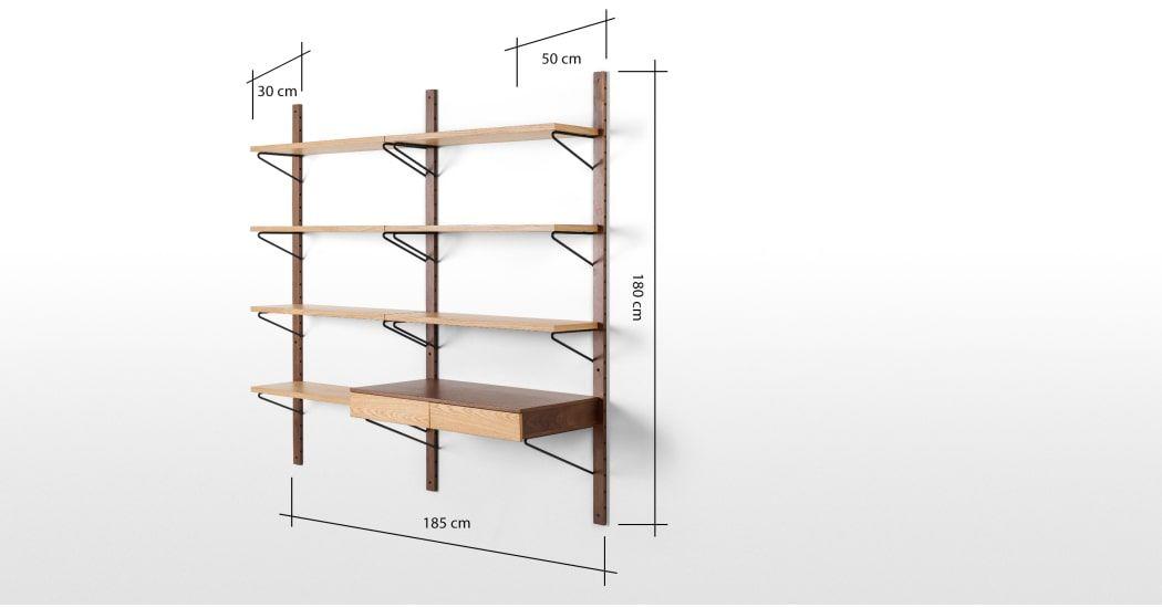 Made Com Modular Shelving Oak Desk Walnut Desks