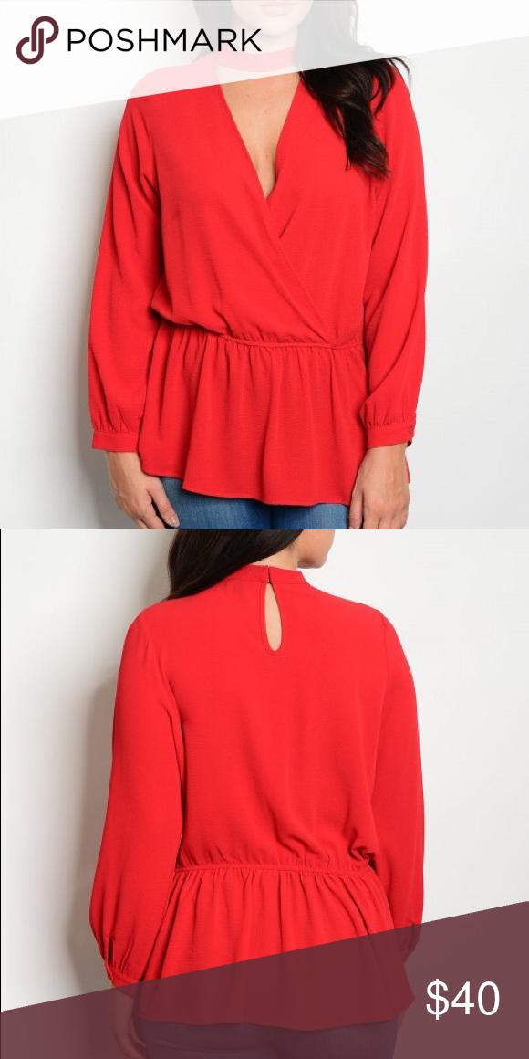 648664faa89 Long sleeve choker tunic elastic waist peplum top Red chiffon *non see  through* Plus size long sleeve choker tunic top Fabric Content: 100%  POLYESTER ...