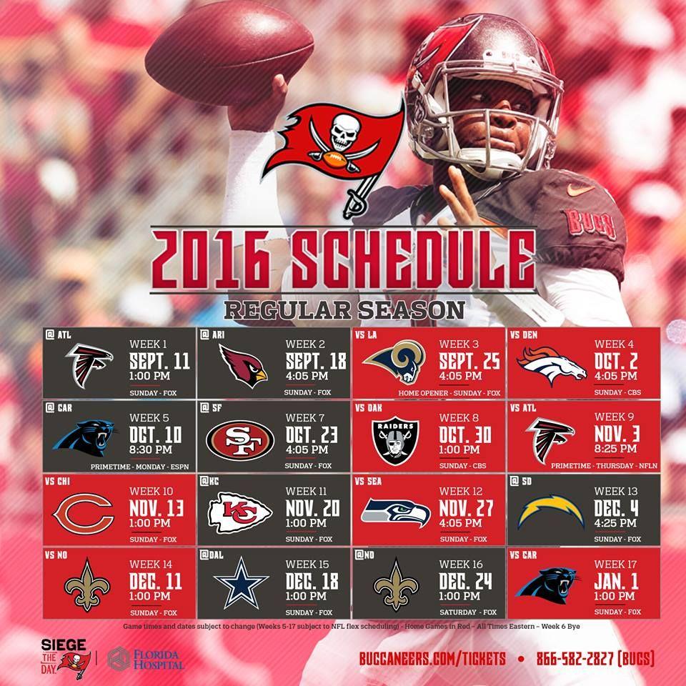 The Bucs 2016 Schedule Is Here Season Opener Falcons Home Opener Vs Rams Two Primetime Games Tampa Bay Buccaneers American Sports Buccaneers
