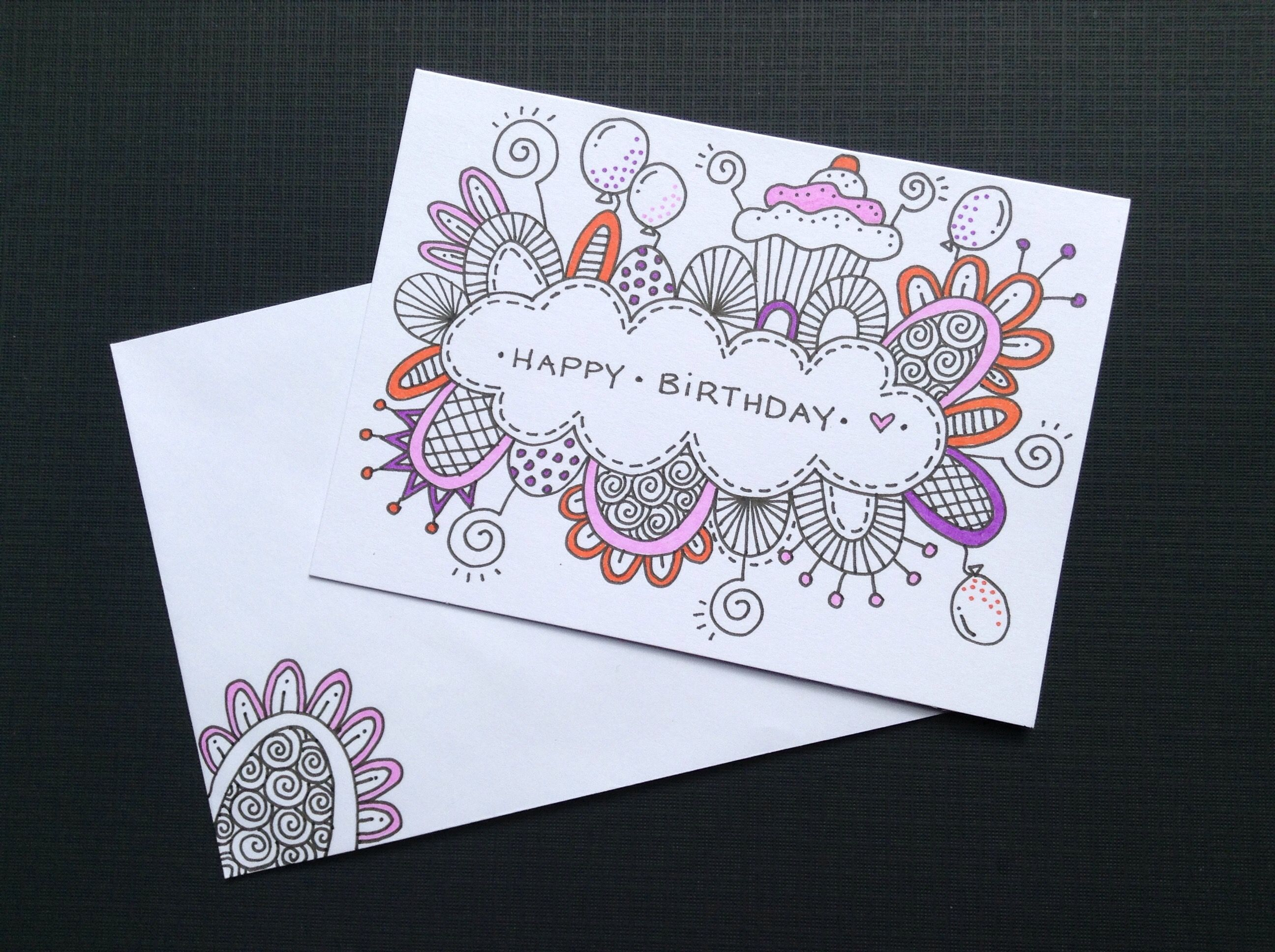 Hand Drawn Birthday Cards Crafts Pinterest Cards Birthday