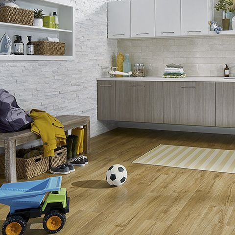 Marigold Oak Natural Laminate Floor With Wear And Spill