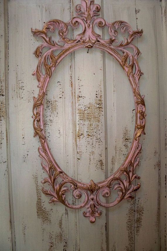 Large ornate frame French pink and gold shabby chic distressed home ...