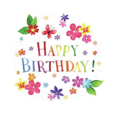 Gail Yerrill Colourful Happy Birthday Card Design Floral Happy