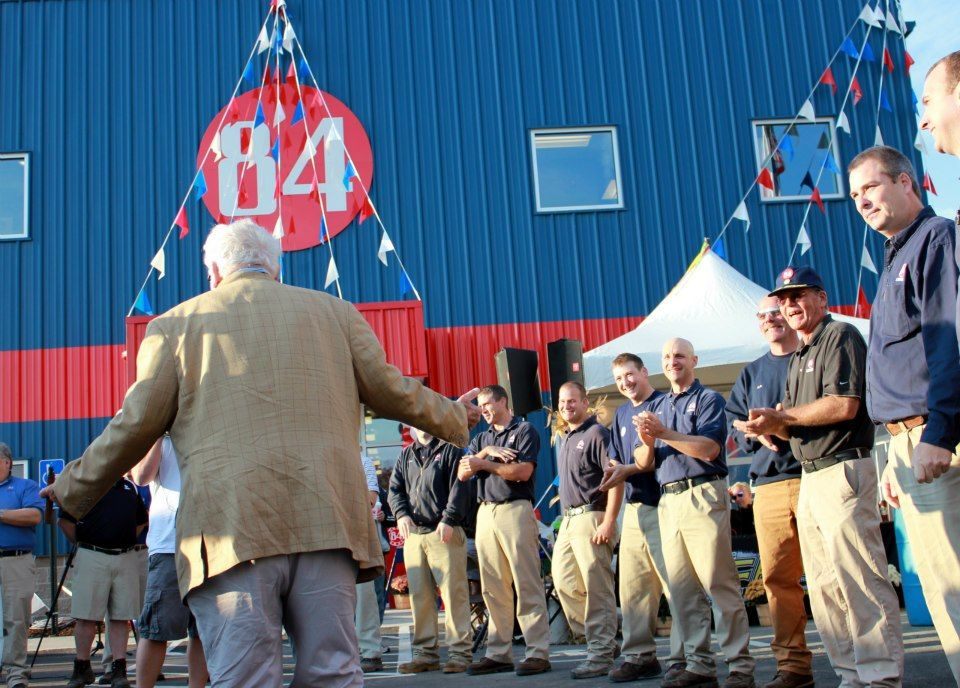 Founder Mr. Joe Hardy Is Welcomed By 84 Lumber Employees.