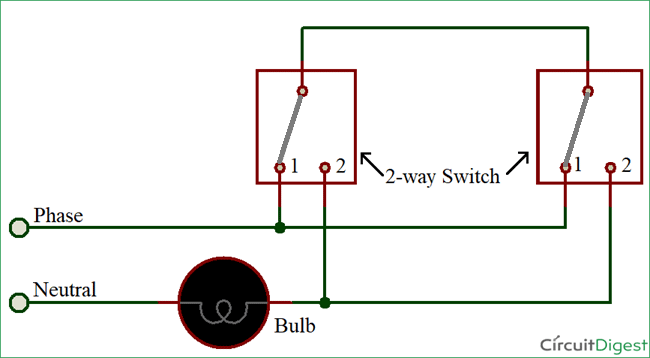 Two Way Switching By 3 Wire Method Circuit Diagram Light Switch Wiring 3 Way Switch Wiring
