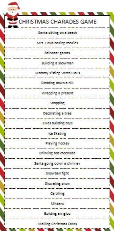 Christmas Charades.Free Christmas Charades Game Printable Christmas Ideas