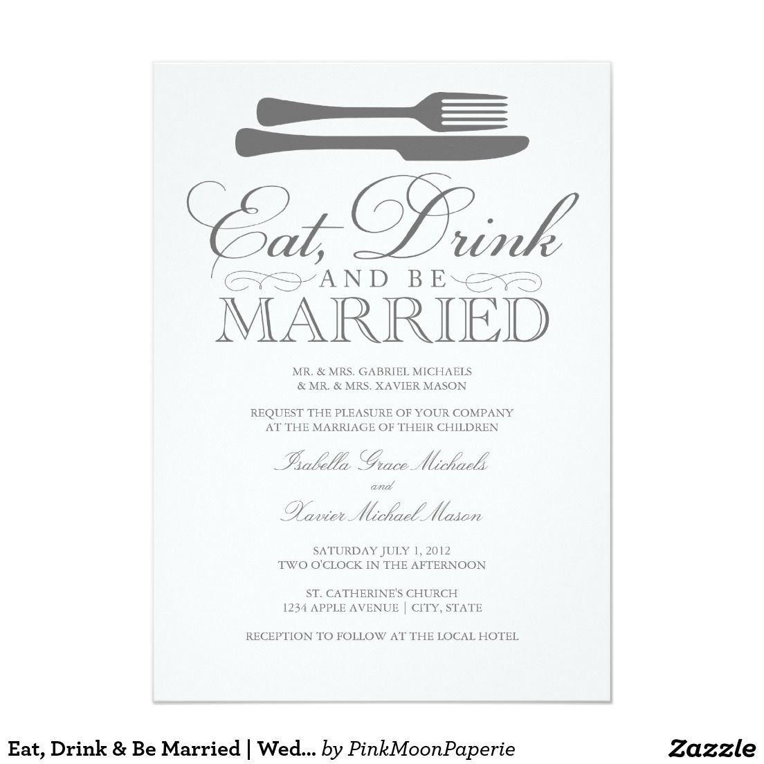 Eat Drink Be Married Wedding Invitation Invitations Drinks