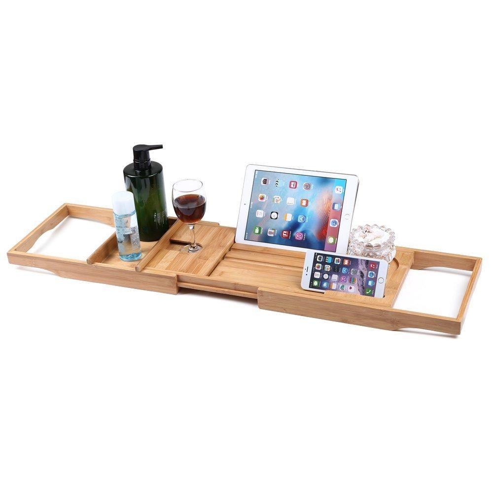 Honana BX-816 Expandable Bamboo Bath Caddy Wine Glass Holder Tray ...