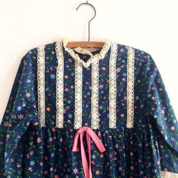 Vintage girls floral print dress babydoll style by radvintageshop