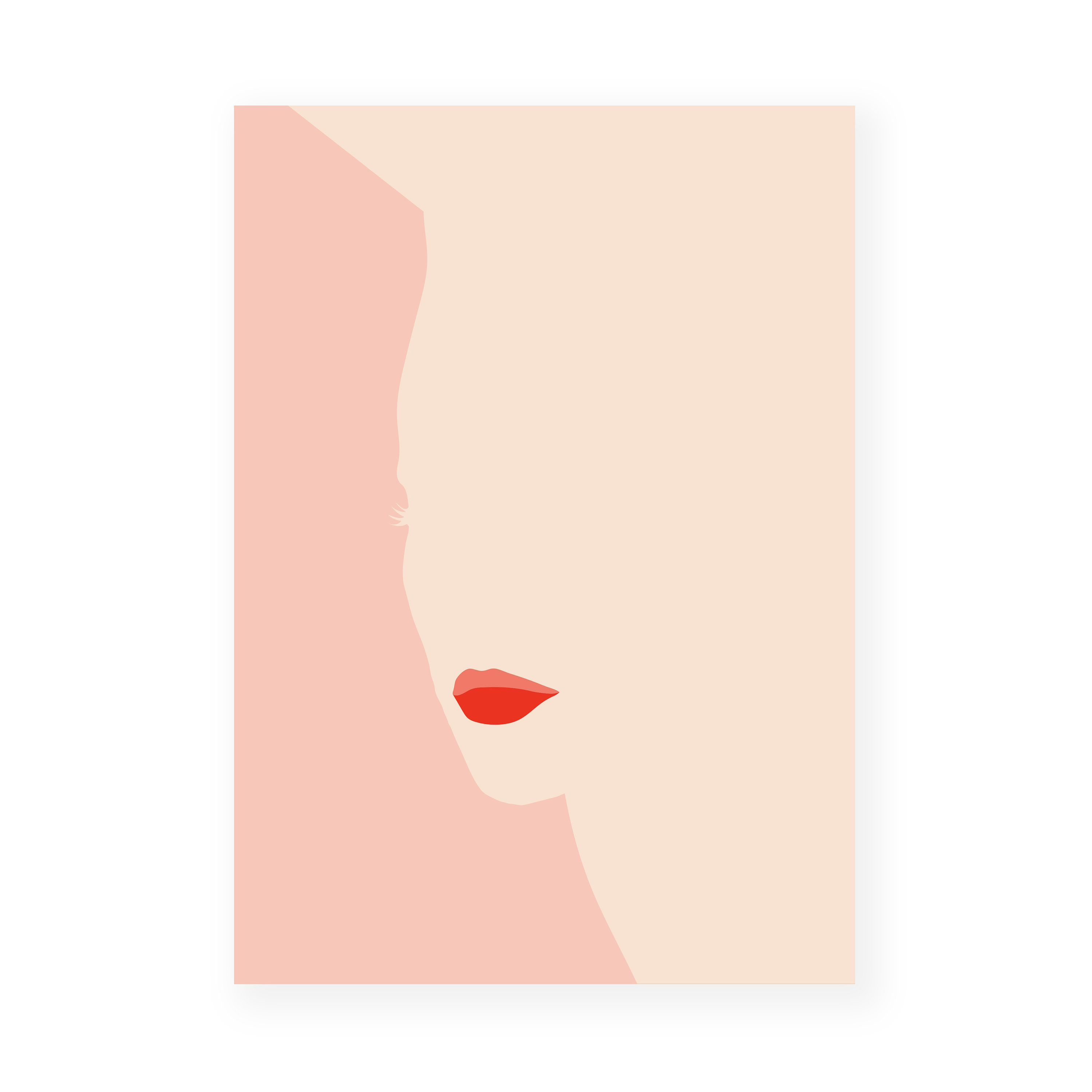 Silhouette Red Lips Printable Abstract Artwork Poster Wall Art