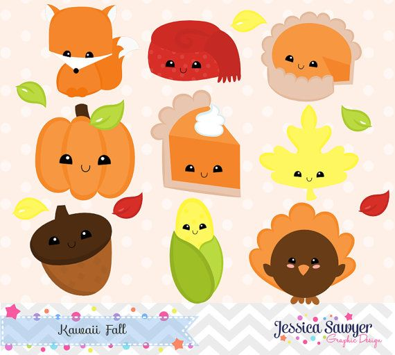 INSTANT DOWNLOAD, kawaii fall clipart and vectors for