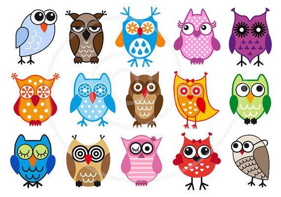 Cute Owls Digital Clip Art Set Clipart Vector Graphic Etsy Digital Clip Art Set Owl Posters Colorful Owls