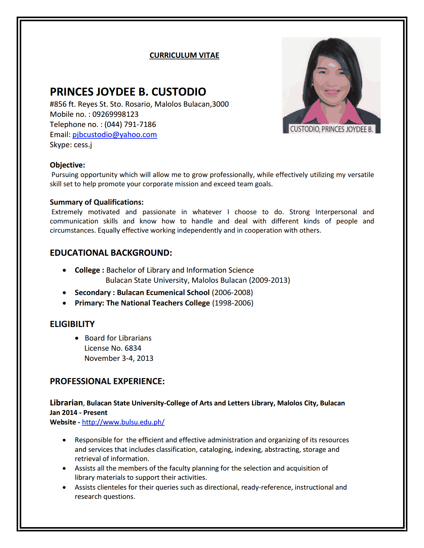 Resume Format Examples For Job | Resume Format | Pinterest | Job ...