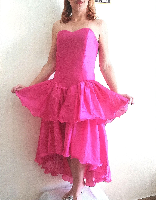 Flounced high low prom dress vintage woman party dress fuchsia