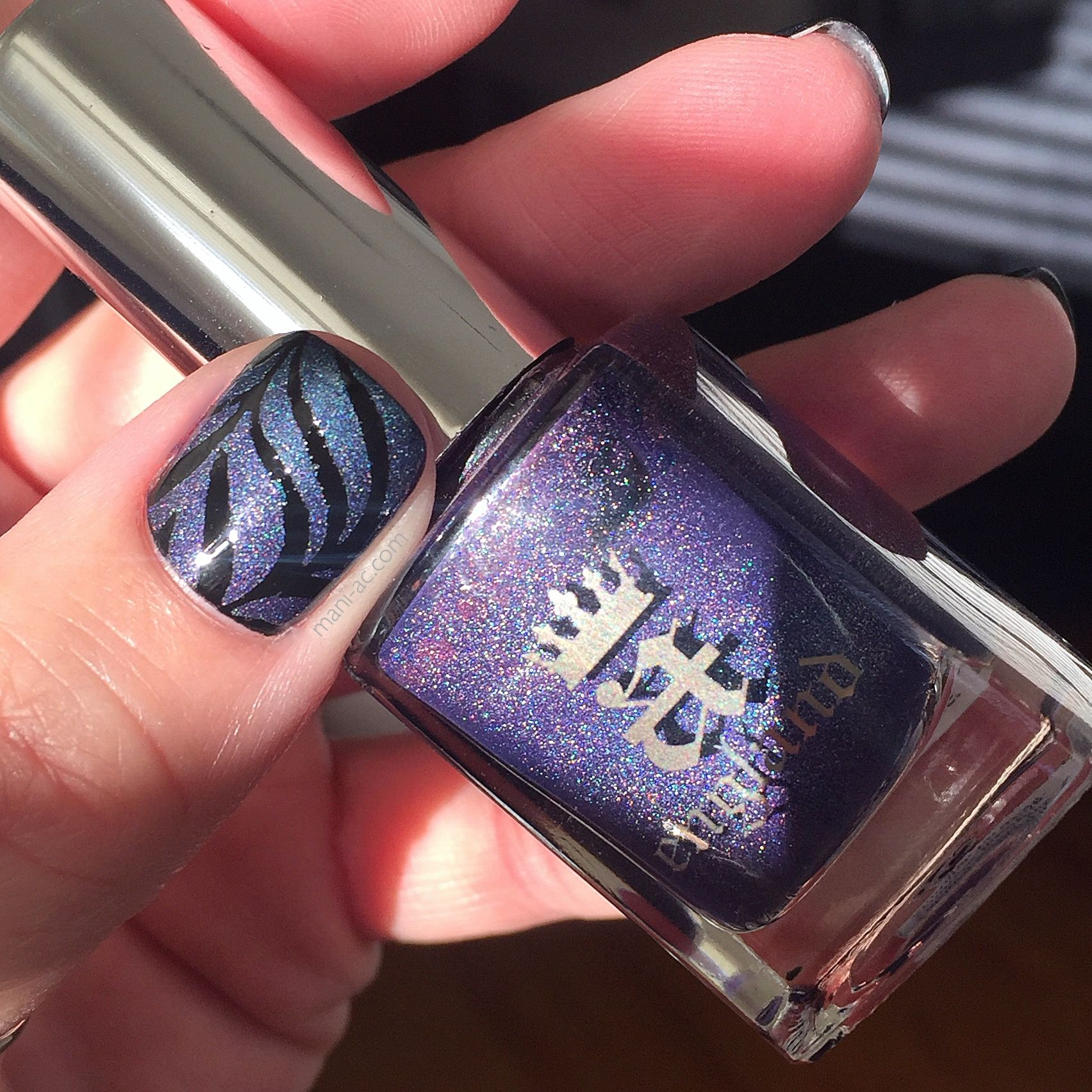 Subtle faded mani: A England - Lady of the Lake, and Proserpine, Essie - Licorice, Bundle Monster Nail Vinyls, a Seche Vite - Dry Fast Top Coat