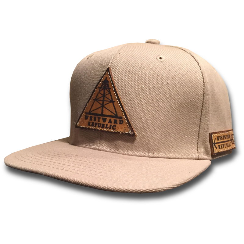 The Odessa. Unique Handmade Leather Patch Design. Comfortable fit Outdoor Inspired Style Adjustable Snapback - one size fits most (adult sizes) JOIN THE REPUBLIC, WEAR WESTWARD.
