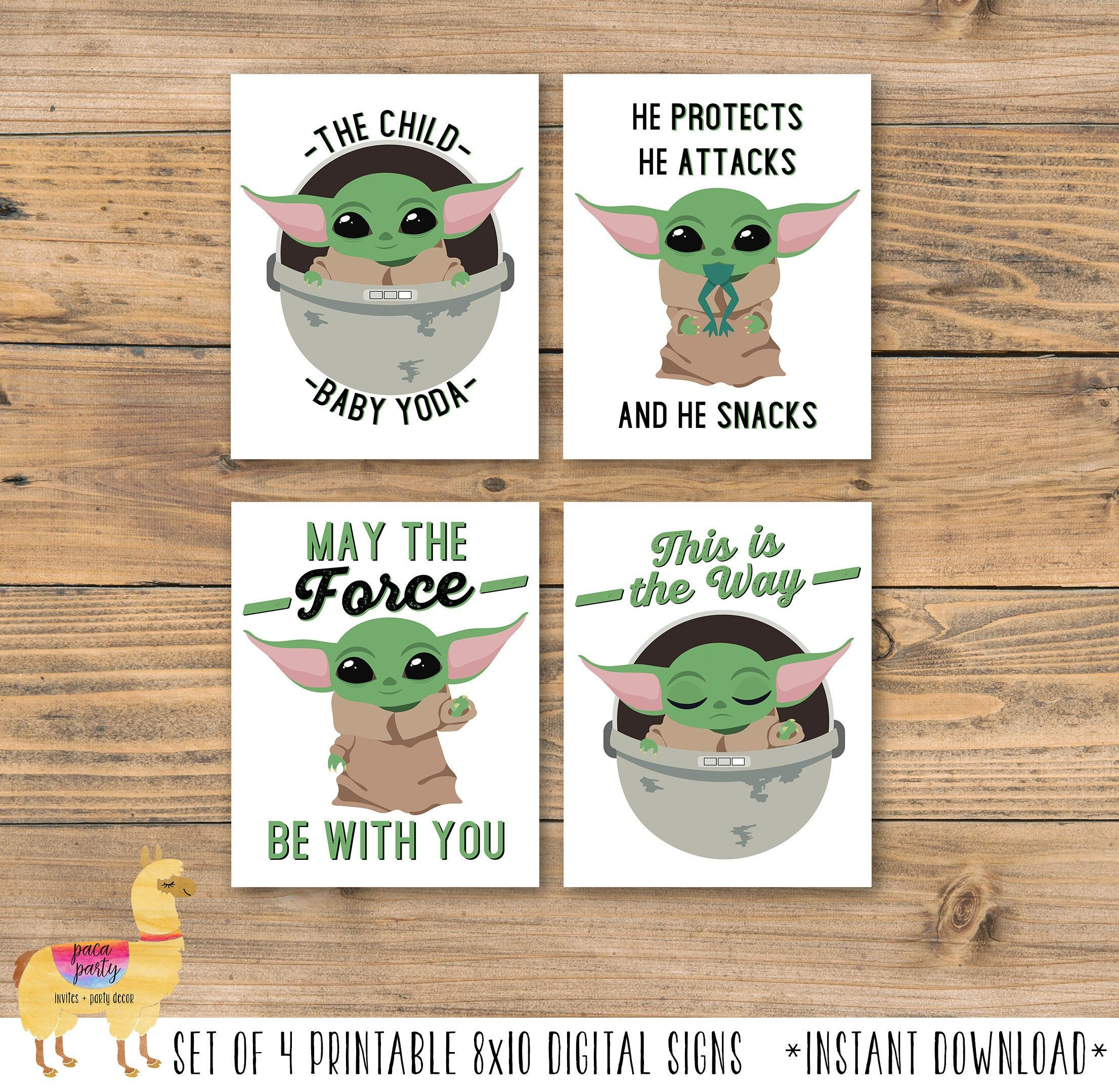 Mando Space Wars Digital Printable Poster Set Baby Yoda Etsy Yoda Party Husband Birthday Card Birthday Cards Diy