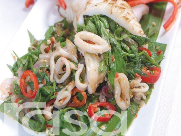 Kerabu Sotong Daun Selom Asian Flavors Cuisine Nangka