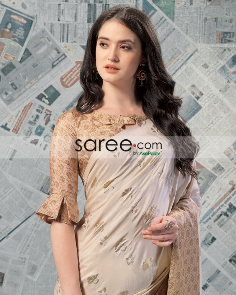Beige Checks Blouse With Pleated Sleeves Design Trendy Blouse Designs Blouse Design Models Designer Blouse Patterns