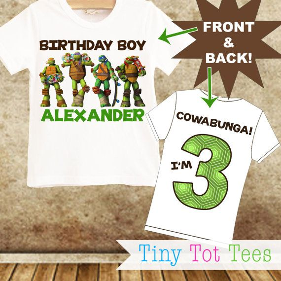 TMNT Teenage Mutant Ninja Turtle Birthday T-shirt PERSONALIZED with Name & Age!